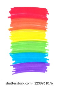 Long vertical rainbow-colored backdrop painted in highlighter felt tip pen on clean white background