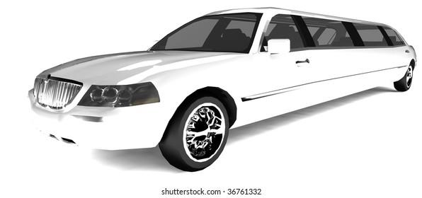 Long white limousine