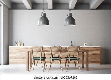 Long wooden dining room table with green and wooden chairs standing in a gray kitchen. 3d rendering mock up