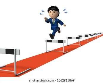 A long work experience. A young businessman who began running hurdle race. Rear view. White background. 3D illustration.