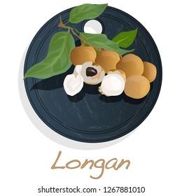 Longan, Dimocarpus longan.  Longan illustration on dish isolated white background.