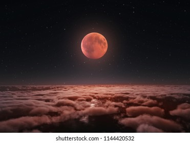 Longest total Lunar eclipse, blood moon over the clouds 2018. Digital illustration