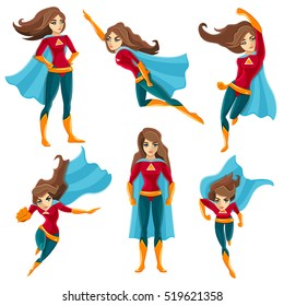 Longhaired superwoman actions set in cartoon colored style with different poses  illustration