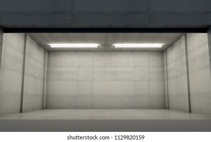 A look inside the interior of an empty double garage made out of concrete in the evening - 3D render