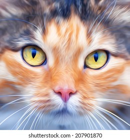 Look into your soul of extremely beautiful cat female. Eye contact with widely open feline pupils. Amazing illustration in oil painting style. Great for user pic, icon, label, emblem, tattoo.