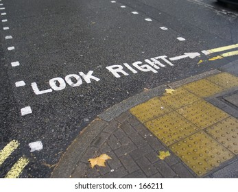 """Look Right"" sign on London's road"