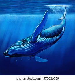 Looking up at a blue whale, surrounded by bonito fish, diving just below the surface of the water.