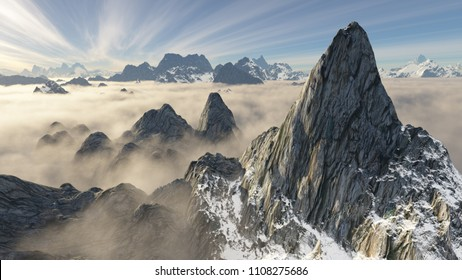 looking down on a giant rocky peak with underlying ridges and low hanging clouds (3D rendering)