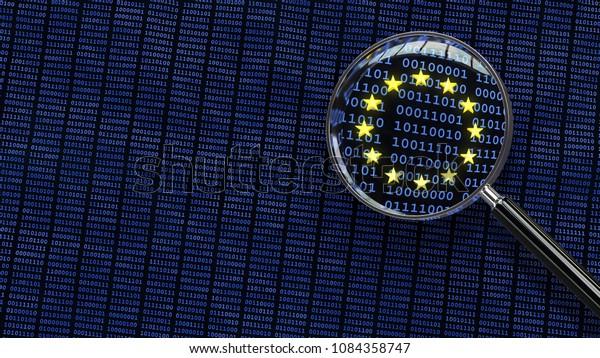 Betrachtet man GDPR-Bits und -Bytes in der Europäischen Union durch Lupe. 3D-Illustration