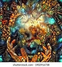 A Travers L'Éternité. Visage et mains, peinture abstraite. Rendu 3D