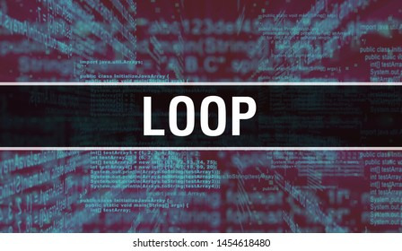 Loop with Digital java code text. Loop and Computer software coding vector concept. Programming coding script java, digital program code with Loop on screen illustration