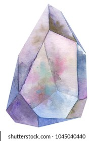 loose isolated watercolor rainbow mineral gemstone crystal cluster