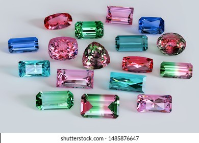 Loose tourmaline gemstones on white background. 3D illustration