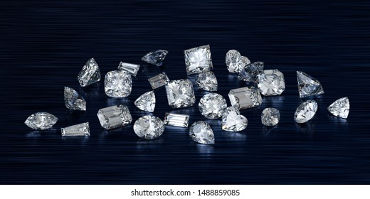 Loose variously cut diamonds on black glossy background. 3D illustration