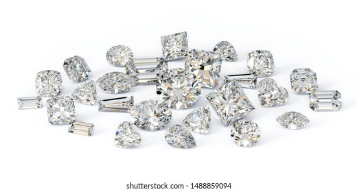 Loose variously cut diamonds on white background. 3D illustration