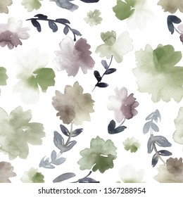 Loose watercolor flowers in green, purple taupe and dusty beige. Seamless pattern.