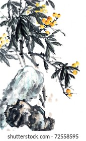 Loquat tree.-Asian ink and wash painting.