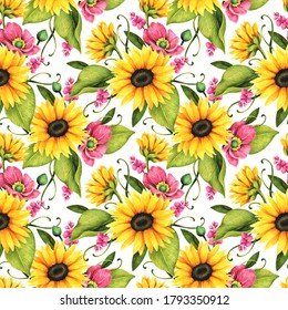 loral seamless pattern with decorative sunflowers, poppies and leaves.