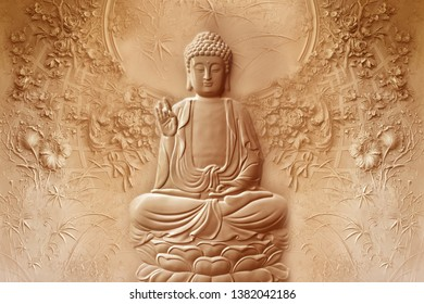 Lord Buddha 3D emboss on decorative pattern textured wall background 3D wallpaper-Illustration. Modern artwork Graphical poster