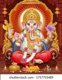 Lord Ganesha with colorful background wallpaper , God Ganesha poster design for wallpaper