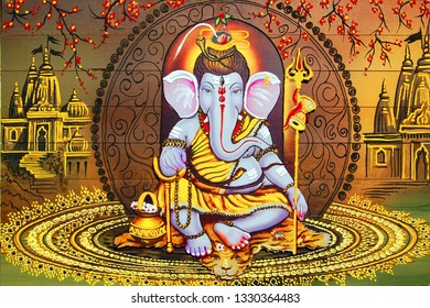 Lord Ganesha Hindu God texture background canvas oil painting