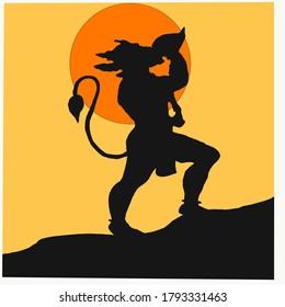 Lord Hanuman,  the hindu god playing shell