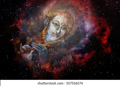 Lord Krishna playing his flute in space, colorful painting collage
