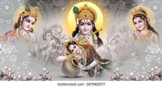 Lord Krishna, Radha Krishna, Digital Colorful Background, Digital Poster