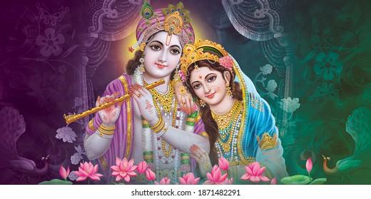 Lord Krishna Wall Poster, Lord Radha Krishna, Digital Wall Poster