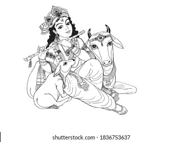 Lord Krishna is a young handsome cowherd boy playing the flute and a cow and a calf lie at his feet and listen. Drawing with Lord Krishna and cows on white paper in black ink.
