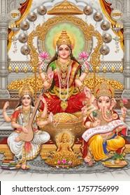 Lord Laxmi, Lord Ganesha, Lord Saraswati with colorful background wallpaper , Diwali Pooja poster design for wallpaper