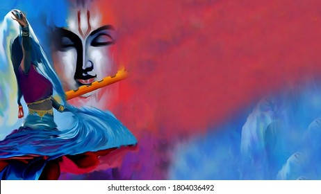 Lord Radha Krishna with flute abstract background and Textured Artwork Artistic  Wallpaper : Ras leela Of Radha and Lord Krishna oil painting