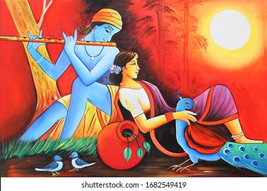 Lord Radha Krishna with flute Hindu religious decorative pattern canvas acrylic oil painting. Textured Artwork Artistic 3D Wallpaper