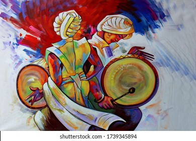 Lord Radha Krishna with flute Hindu religious abstract decorative pattern canvas acrylic oil painting. Textured Artwork Artistic 3D Wallpaper