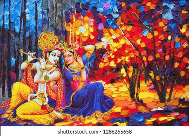 Lord Radha krishna hindu god religious canvas texture oil painting