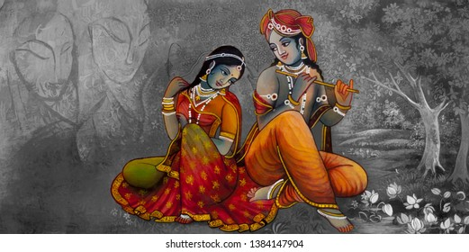 Lord Radha Krishna hindu god decoraitve bright texture canvas oil painting. Textured Modern artwork