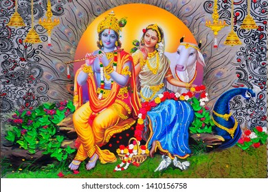 Lord radha krishna hindu god decorative pattern abstract canvas oil painting 3D wallpaper. multicolor bright textured modern artwork