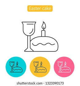 Lord s Supper, communion, Bread and Wine. Easter cake, candle and wine linear icon. Thin line illustration. Contour symbol.  isolated outline drawing. Editable stroke.