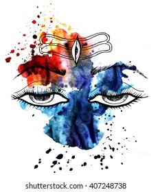 lord shiva.eyes.Watercolor splash. Mahadev. Shivratri dharma. Indian culture