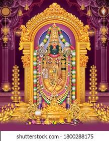 Lord Tirupati BalaJi with colorful background wallpaper , God Tirupati Balaji poster design, Bhagwan Vishnu