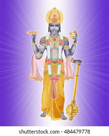 lord vishnu on the light glow and purple background with gold attributes