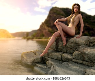 Lorelei siren of Germanic legend whose singing lures Rhine River boatmen to destruction on a reef, 3d render.