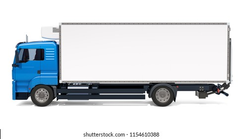 Lorry with isothermal van, side view. 3D rendering isolated on white background