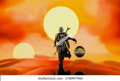 Los Angeles , California - April 10 , 2020 : Mandalorian and Baby Yoda digital illustration