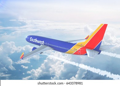LOS ANGELES, CALIFORNIA, USA - MAY 8 2017: Aerial view of Southwest Airlines Boeing 737 on approach to runway at Los Angeles Airport. 3D Illustration.