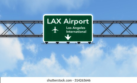 Los Angeles LAX USA Airport Highway Sign 3D Illustration