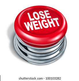 Lose weight fast button as a concept of dieting and healthy eating and low calorie slimming down with nutrition and exercise for human loss of fat and losing pounds for a slimmer body on white