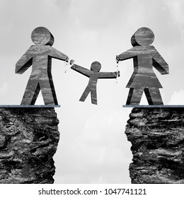 Losing custody as a divorce trial disagreement parenting children with 3D illustration elements.