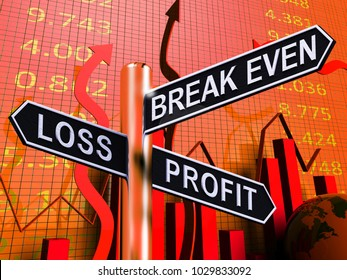 Loss Profit Or Break Even Signpost Shows Investment Earnings 3d Illustration