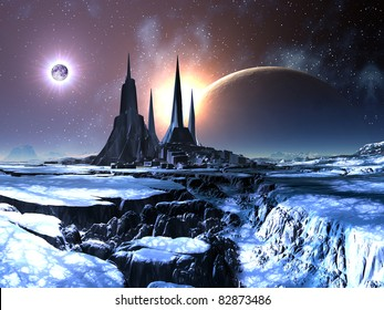 Lost Alien City in Snow